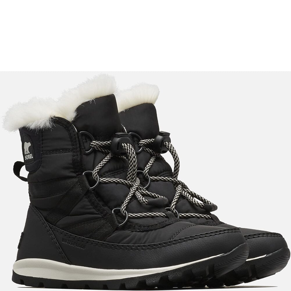 Image for Sorel Kid's Whitney Short Lace Pac Boots - Black/Sea Salt from bootbay