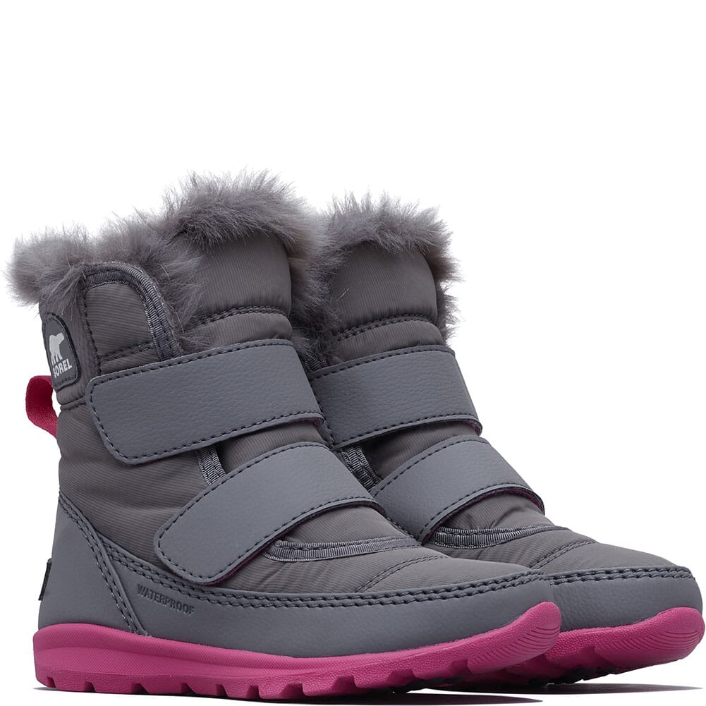 Image for Sorel Kid's Whitney Strap Boots - Quarry/Ultra Pink from bootbay
