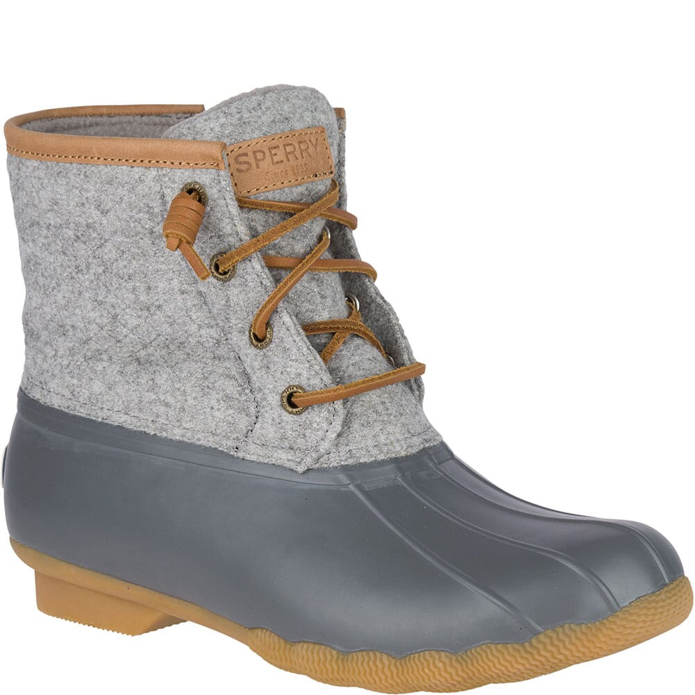 Image for Sperry Women's Saltwater Wool Embossed Duck Boots - Grey from elliottsboots