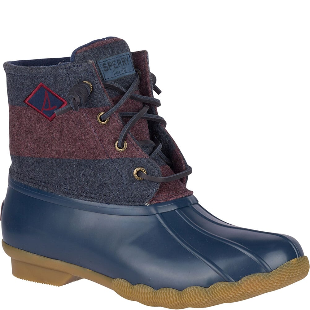 Image for Sperry Women's Saltwater Varsity Stripe Duck Boots - Navy/Wine from elliottsboots