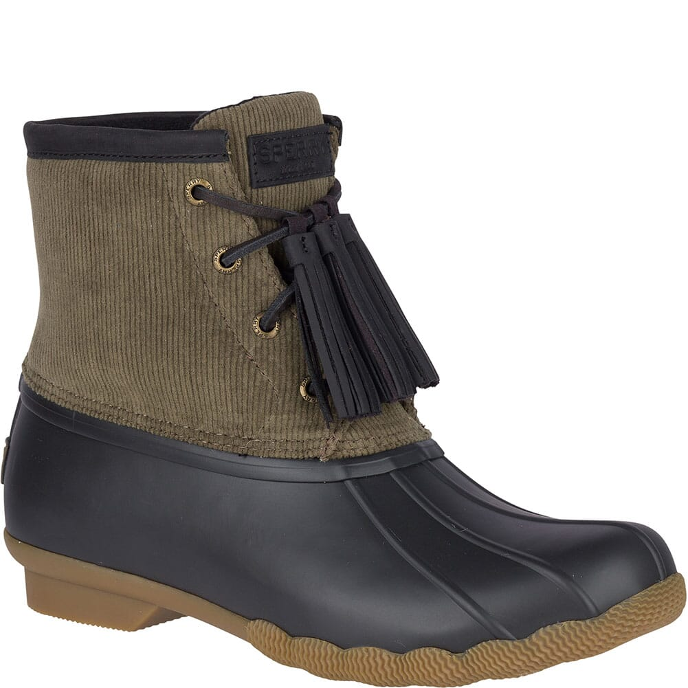 Image for Sperry Women's Saltwater Tassel Corduroy Duck Boots - Olive from elliottsboots