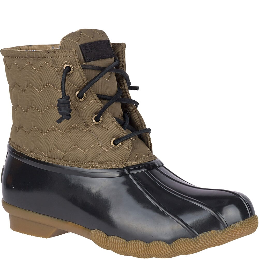 Image for Sperry Women's Saltwater Quilted Chevron Duck Boots - Olive from bootbay