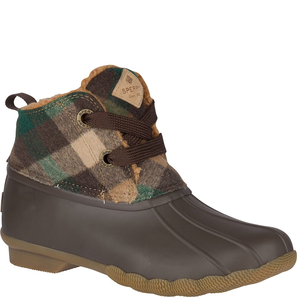 Image for Sperry Women's Saltwater 2-Eye Plaid Wool Duck Boots - Brown/Green from elliottsboots