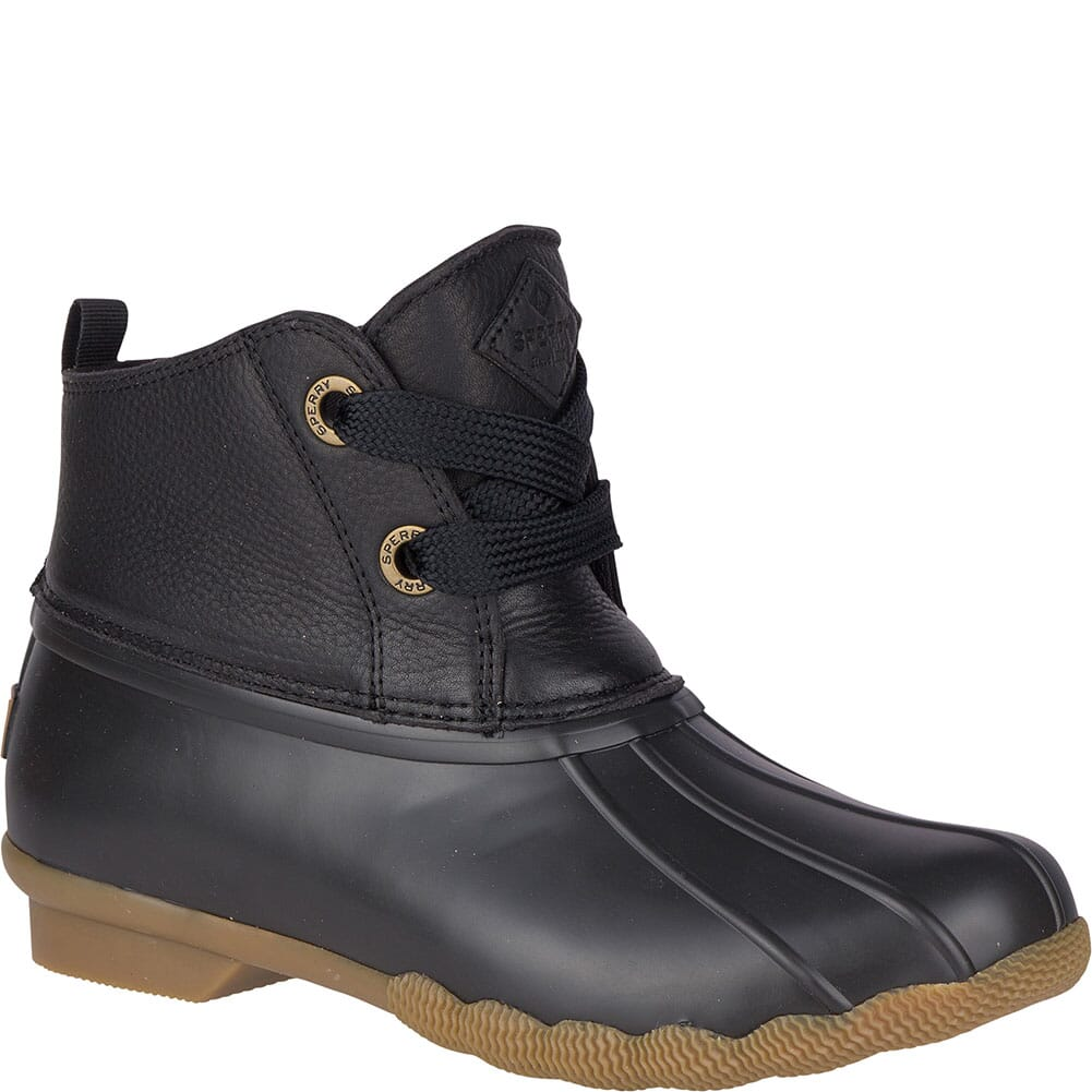Image for Sperry Women's Saltwater 2-Eye Leather Duck Boots - Black from elliottsboots
