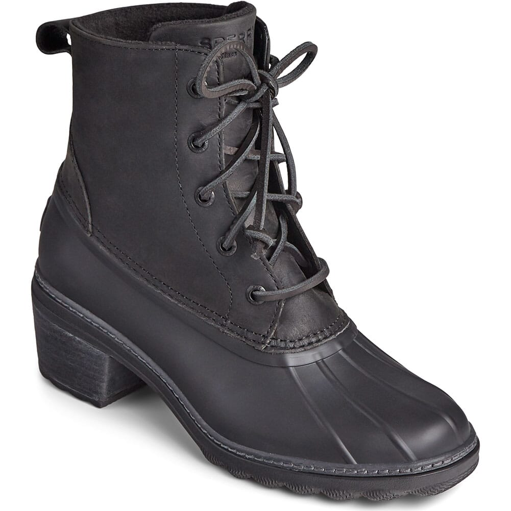Image for Sperry Women's Saltwater Heel Leather Duck Boots - Black from elliottsboots