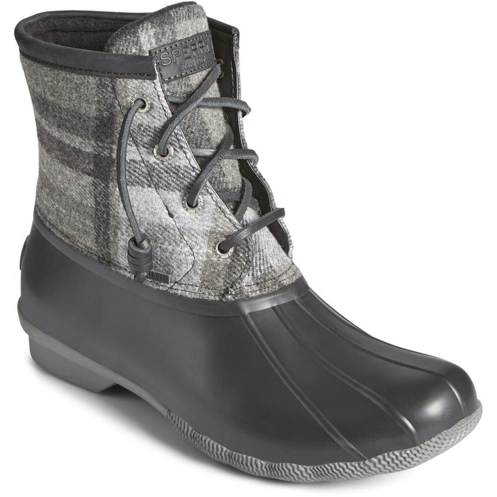 Image for Sperry Women's Saltwater Wool Plaid Pac Boots - Charcoal from elliottsboots