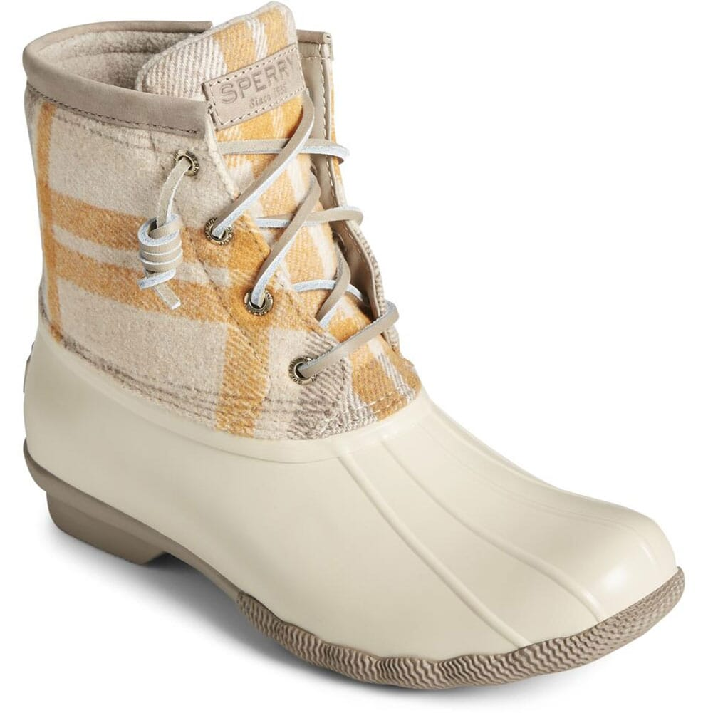 Image for Sperry Women's Saltwater Wool Plaid Pac Boots - Ivory from bootbay