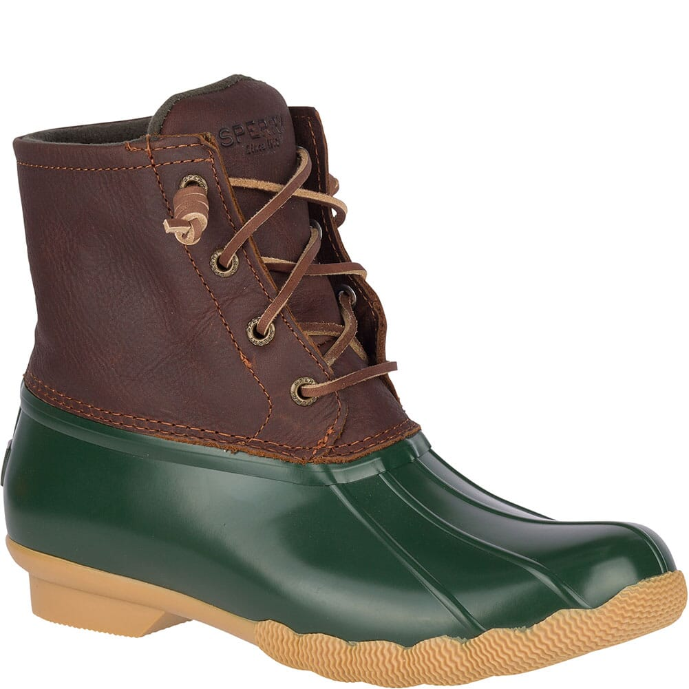 Image for Sperry Women's Saltwater Duck Boots - Green/Brown from elliottsboots