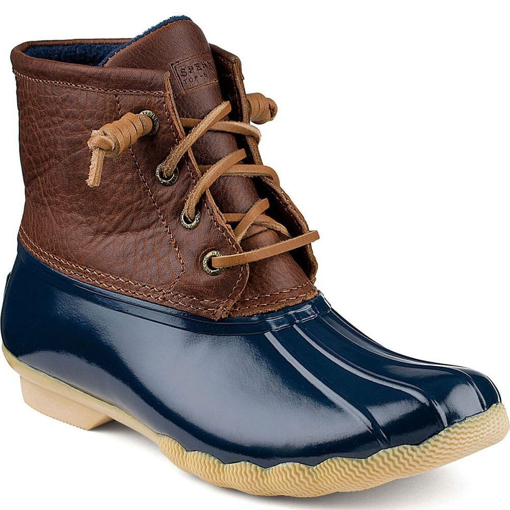 Image for Sperry Women's Saltwater Duck Boots - Tan/Navy from elliottsboots