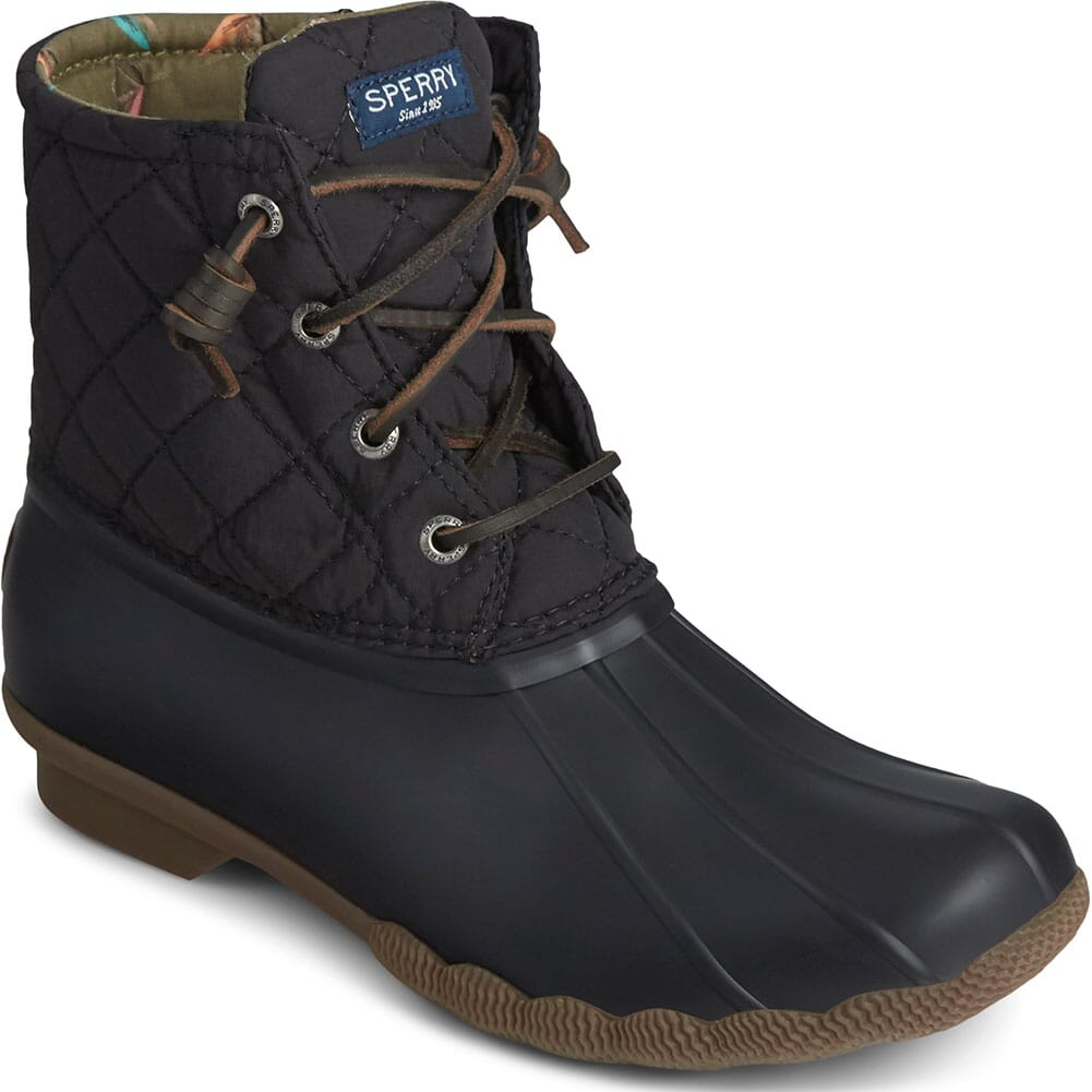 Image for Sperry Women's Saltwater Quilted Duck Boots - Black from elliottsboots