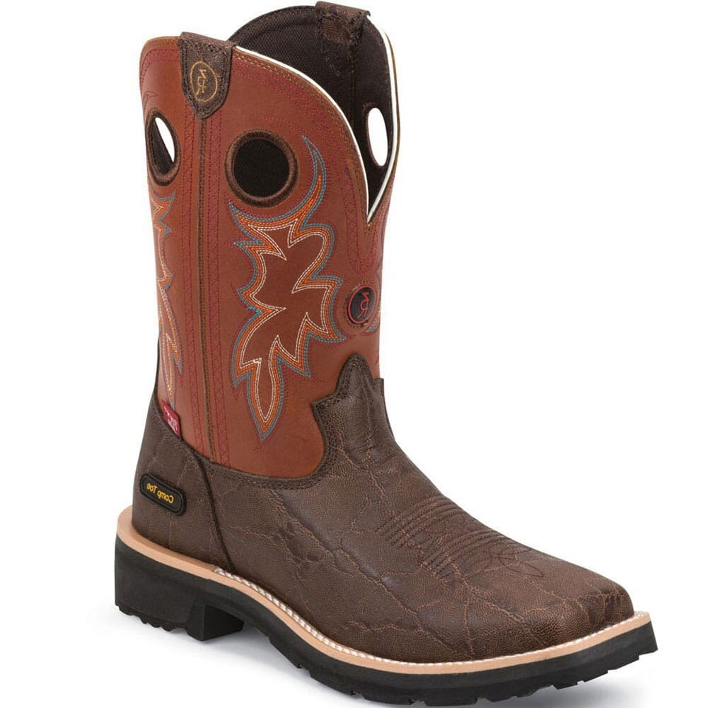 Image for Tony Lama Men's 3R Elephant Print Safety Boots - Walnut from bootbay