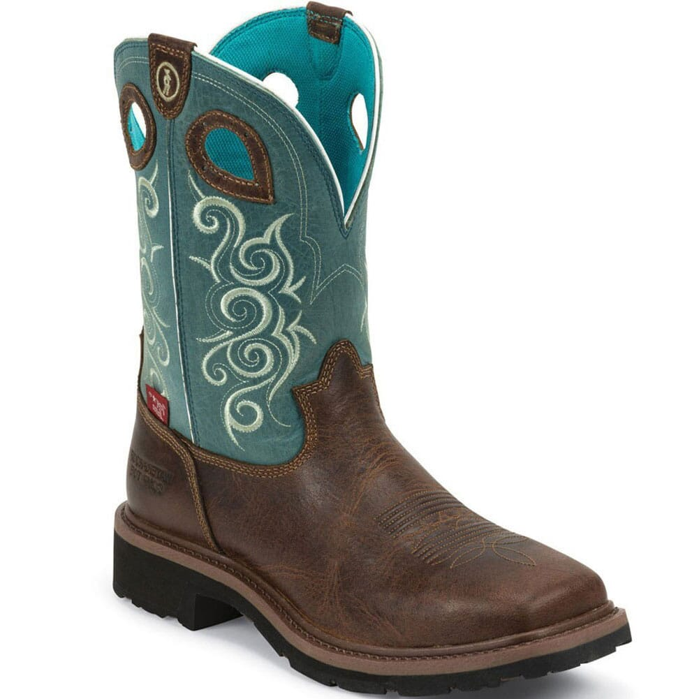 Image for Tony Lama Women's 3R WP Safety Boots - Teal from bootbay