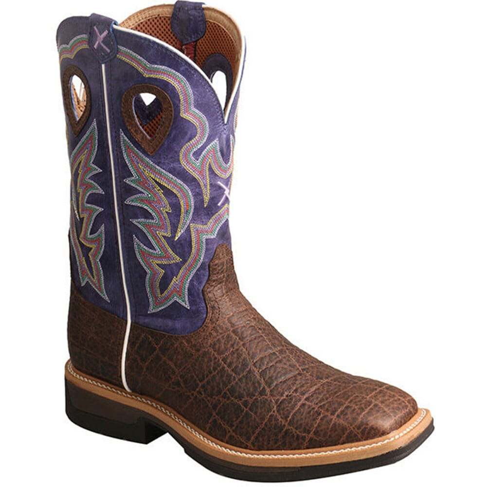 Image for Twisted X Men's Lite Cowboy Safety Boots - Brown Elephant Print/Purple from bootbay