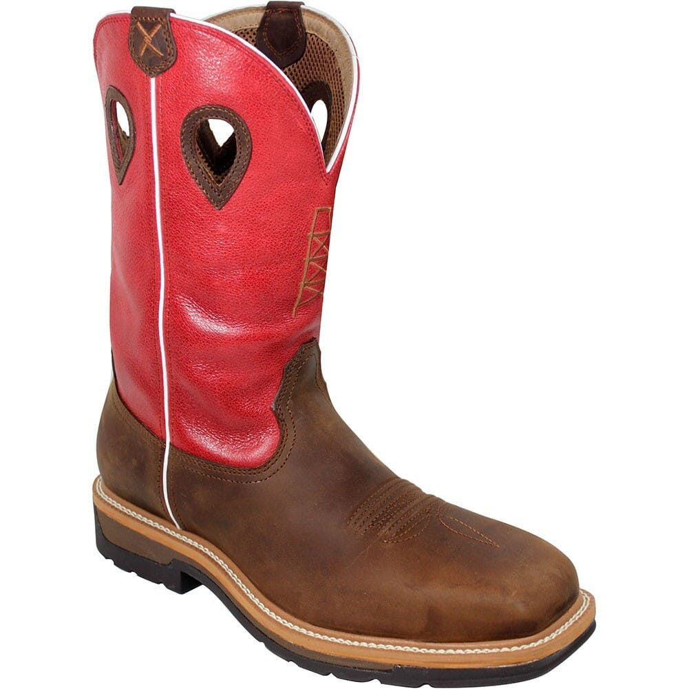 Image for Twisted X Men's Lite Cowboy Safety Boots - Latigo/Red from bootbay
