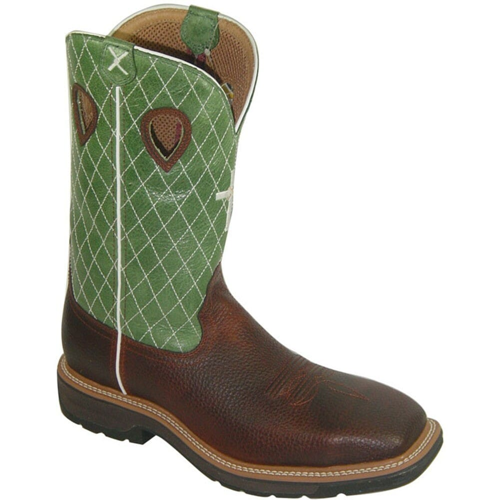 Image for Twisted X Men's Lite Cowboy ST Safety Boots - Lime/Brown from bootbay