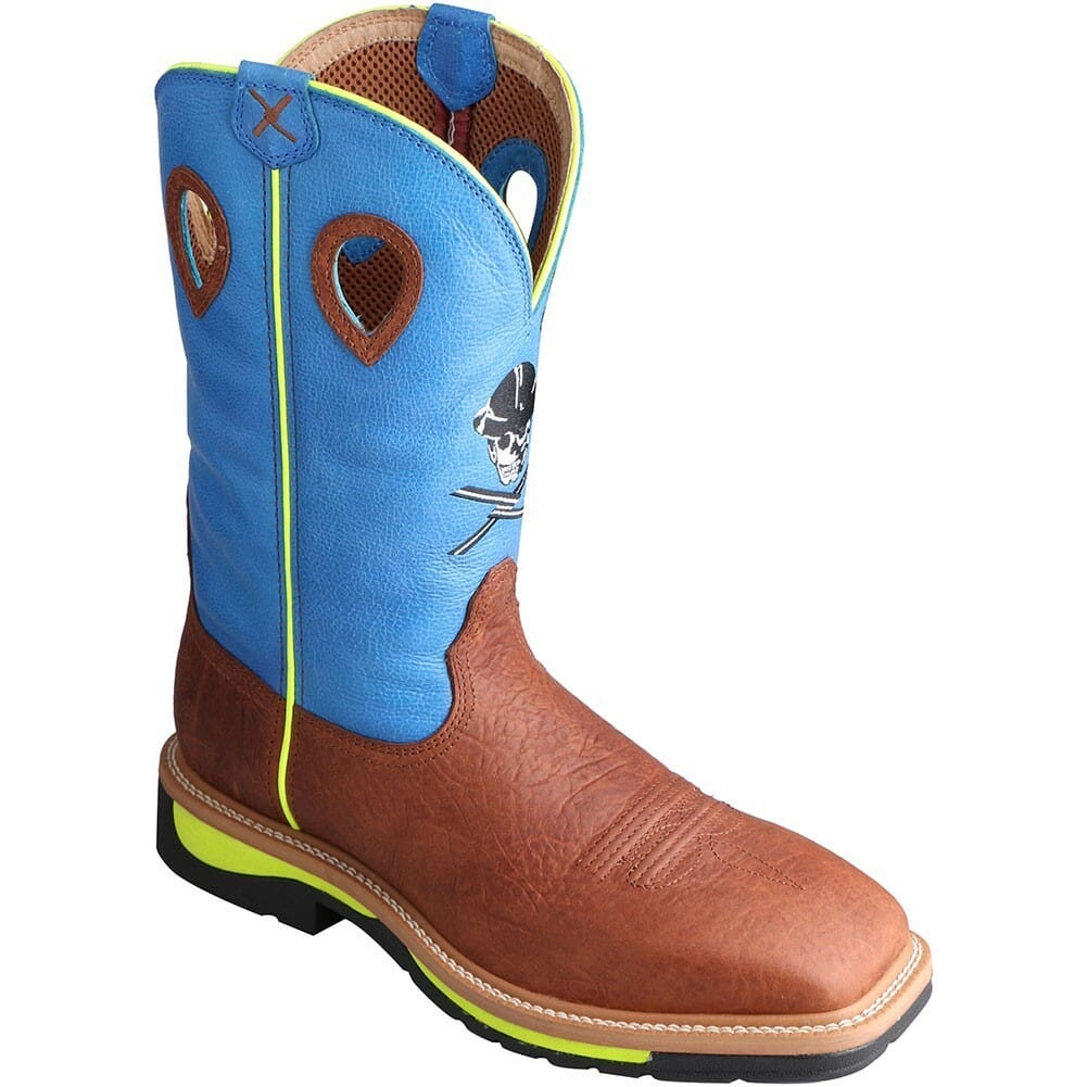 Image for Twisted X Men's Lite Cowboy ST Safety Boots - Neon Blue/Brown from bootbay