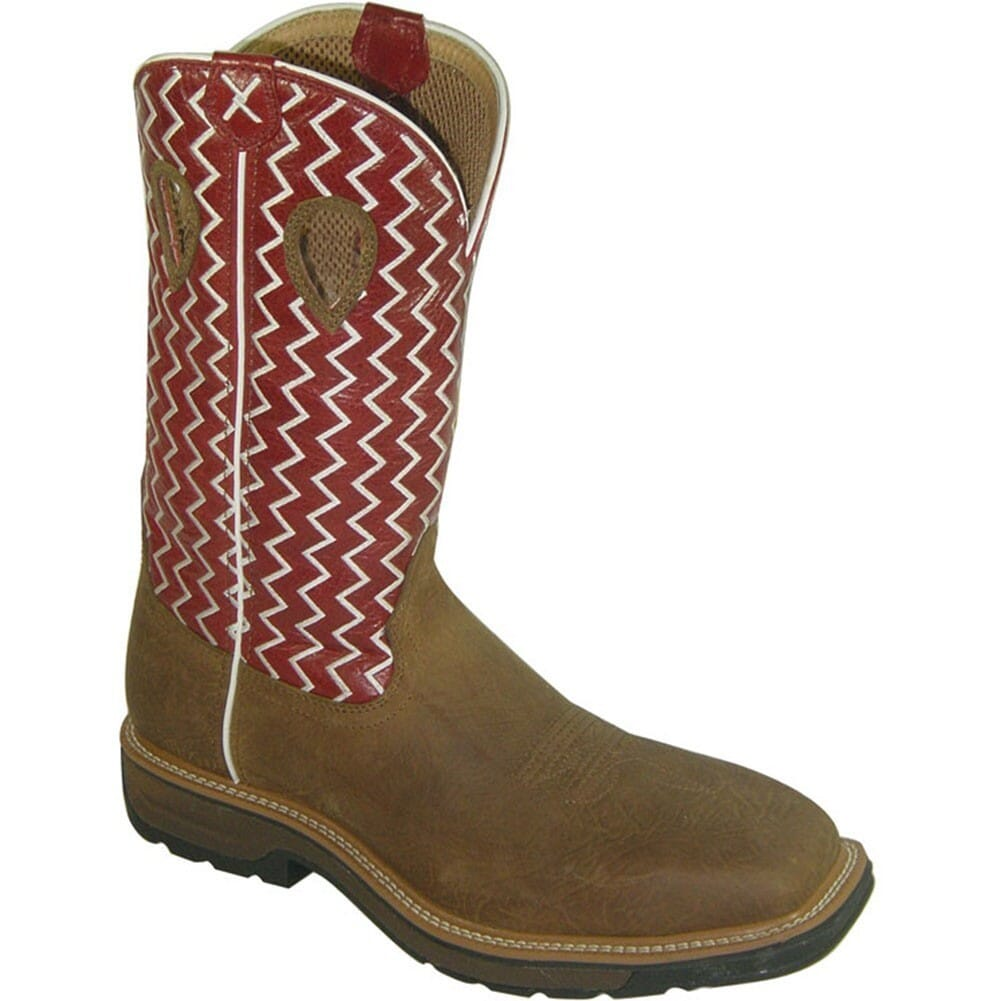 Image for Twisted X Men's Lite Cowboy Work Boots - Cherry/Brown from bootbay