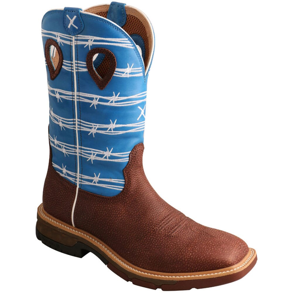 Image for Twisted X Men's CellStretch Work Boots - Burgundy/Sky Blue from bootbay