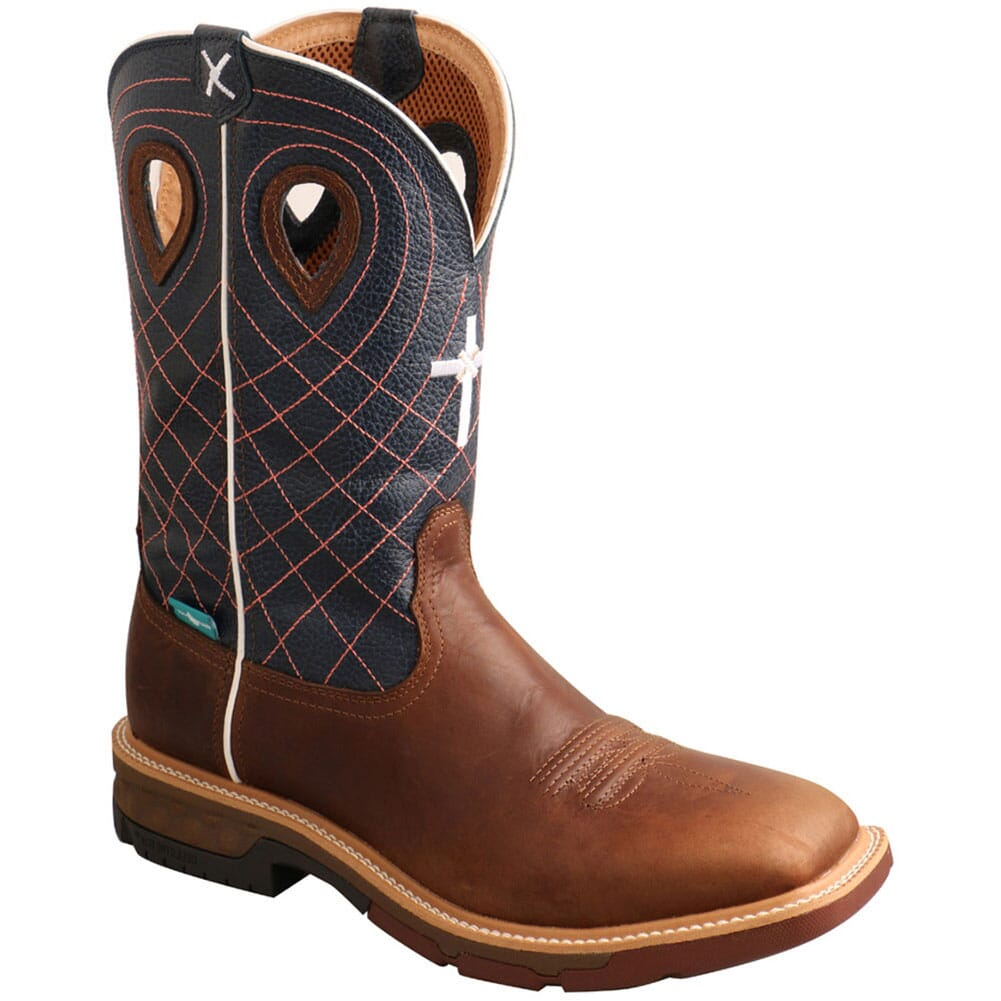 Image for Twisted X Men's CellStretch WP Safety Boots - Mocha/Navy from bootbay