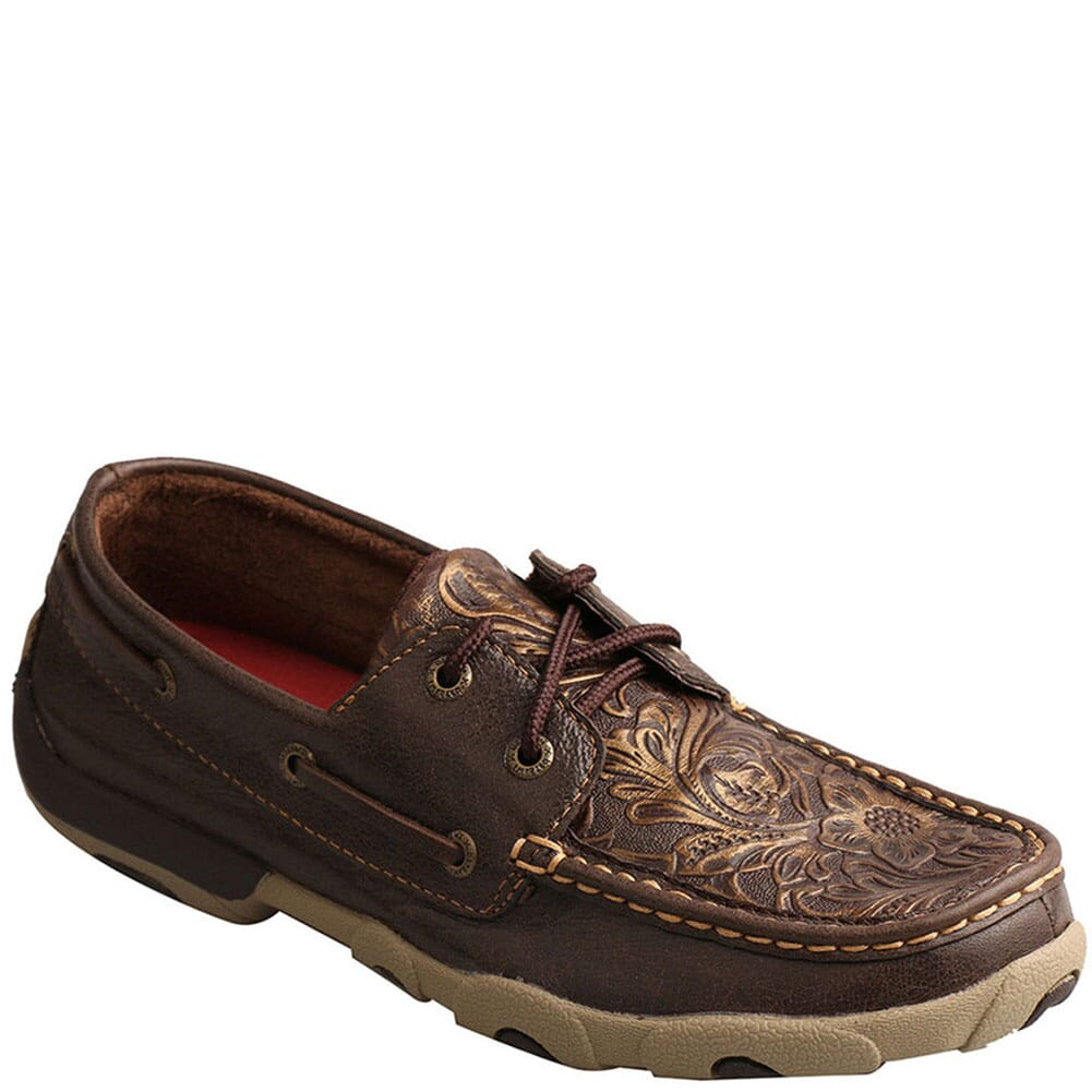 Image for Twisted X Women's Boat Driving Moc Shoes - Brown/Emboss Flower from bootbay