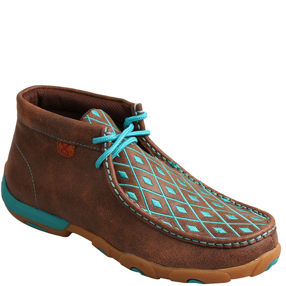 Image for Twisted X Women's Driving Moc Chukka - Brown/Turquoise from bootbay