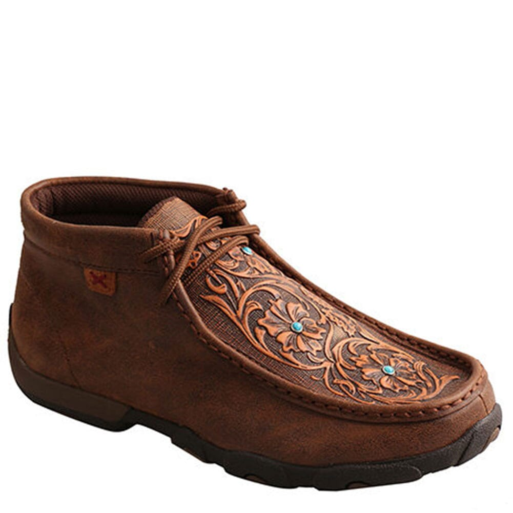 Image for Twisted X Women's Mid Driving Moccasins - Brown/Tooled Flowers from bootbay