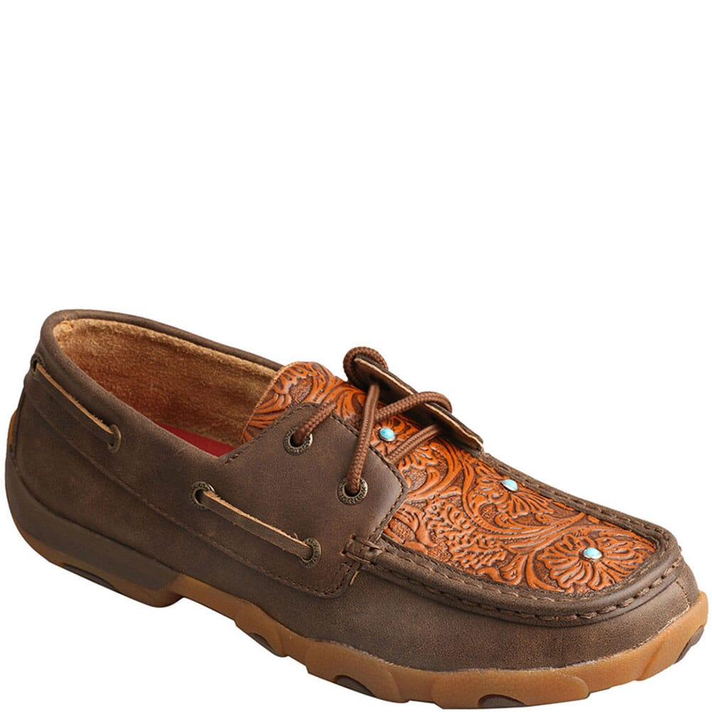 Image for Twisted X Women's Boat Shoe Driving Moc - Brown/Tooled Flower from bootbay