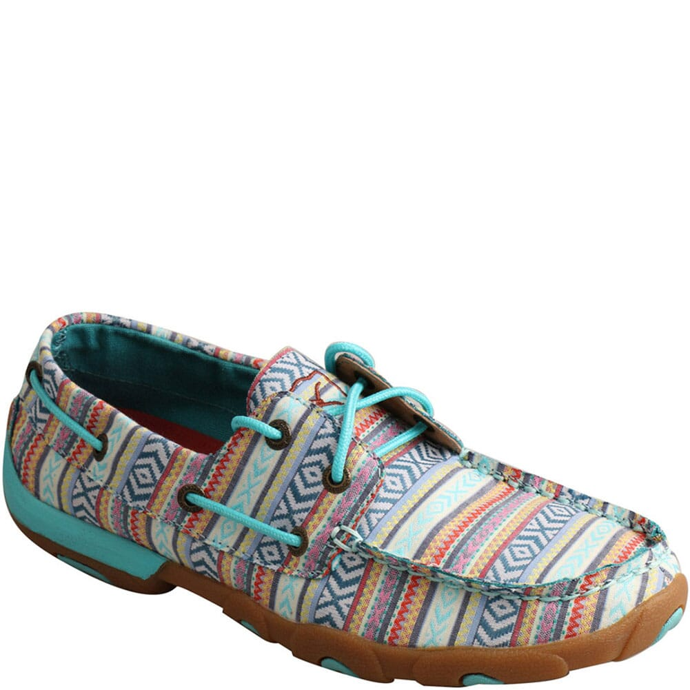 Image for Twisted X Women's Boat Shoe Driving Moc - Turquoise/Multi from bootbay