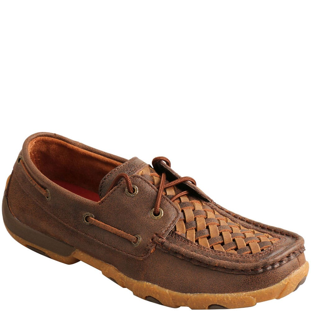 Image for Twisted X Women's Boat Shoe Driving Moc - Woven Tan/Brown from bootbay