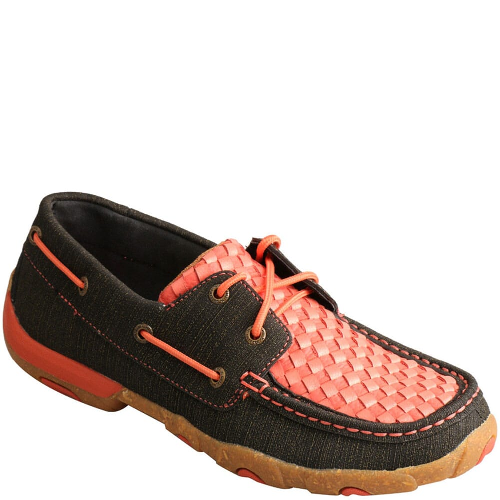 Image for Twisted X Women's Boat Shoe Driving Moc - Woven Coral & Black from bootbay
