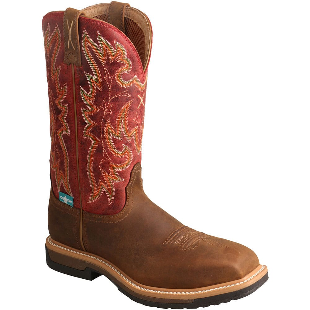 Image for Twisted X Women's Comp Toe Lite WP Safety Boots - Saddle/Red from elliottsboots