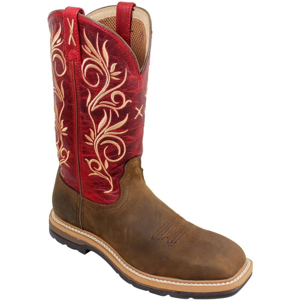 Image for Twisted X Women's Lite Cowboy Safety Boots - Distressed Latigo/Red from elliottsboots