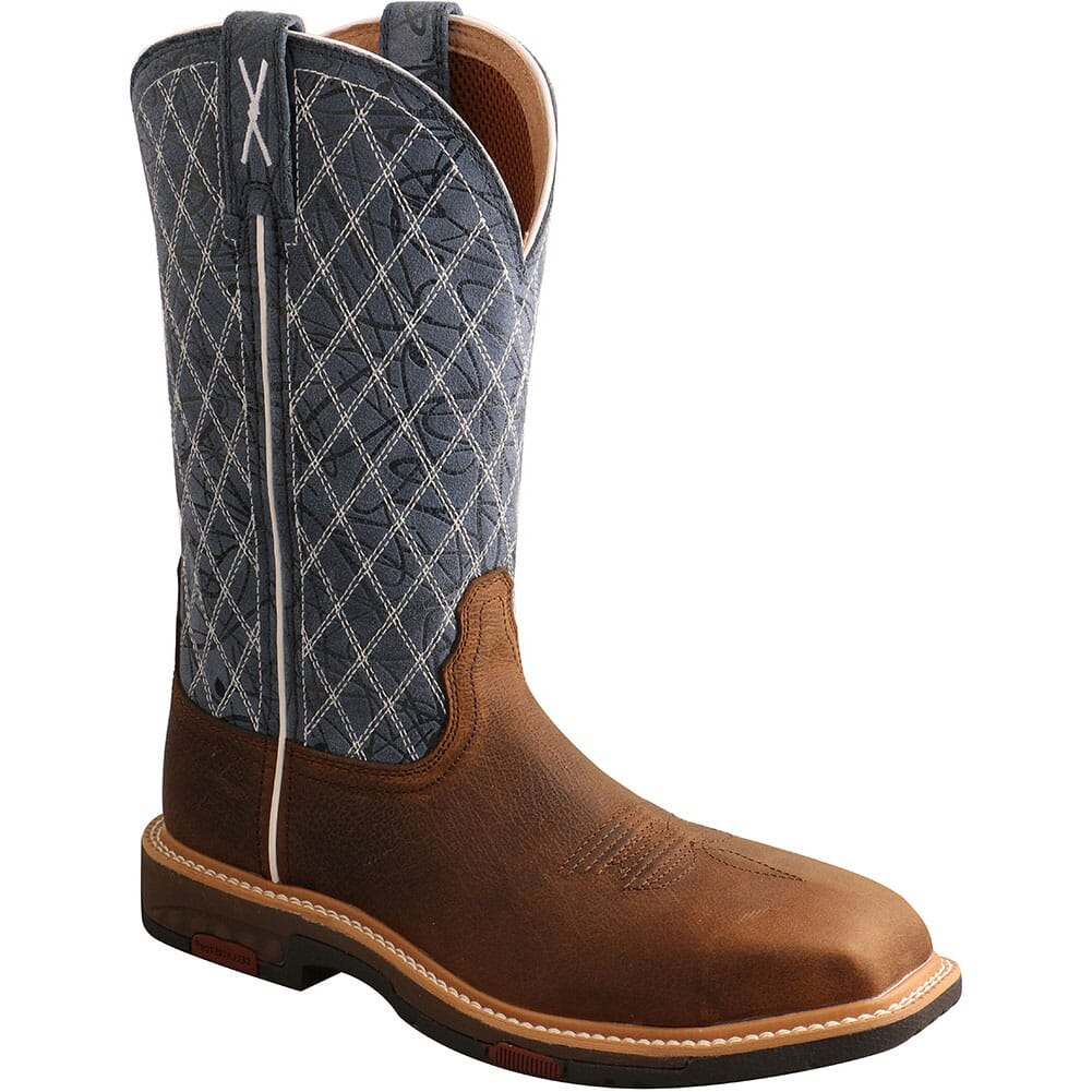 Image for Twisted X Women's Nano Toe Western Safety Boots - Brown/Blue from bootbay