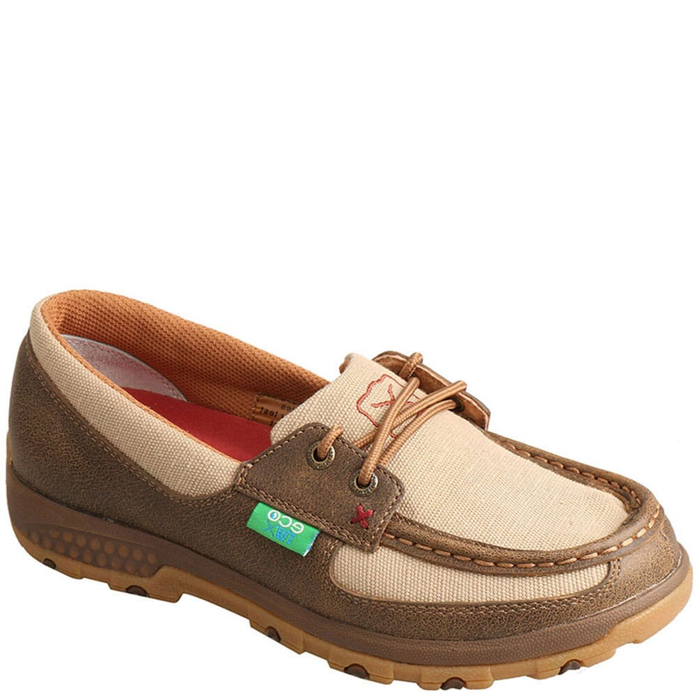 Image for Twisted X Women's Driving Moc Boat Shoes - Bomber/Khaki from bootbay