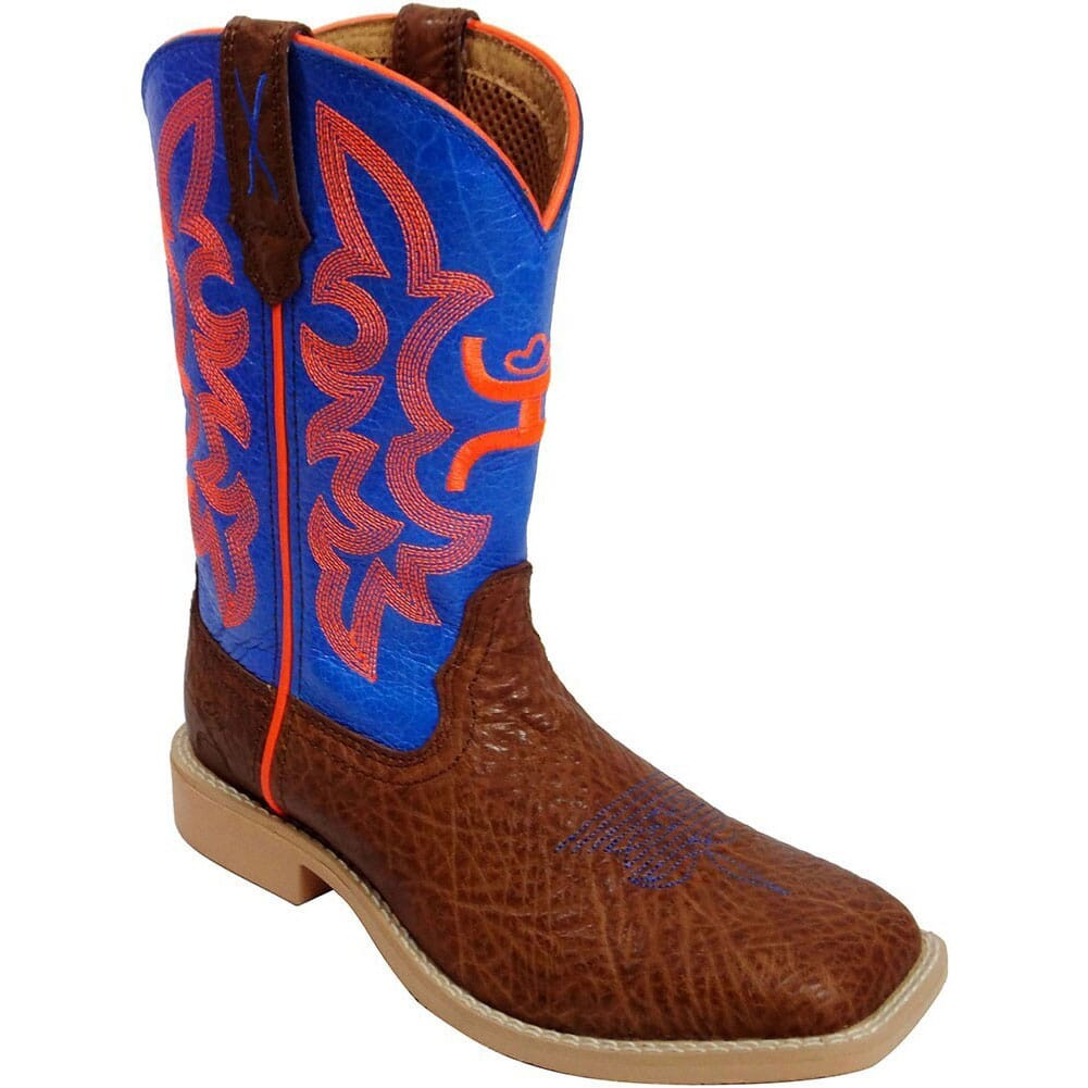 Image for Twisted X Kid's Hooey Western Boots - Cognac/Neon Blue from bootbay