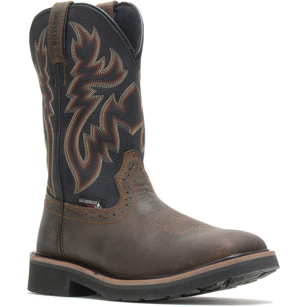 Image for Wolverine Men's Rancher WP Work Boots - Black/Brown from bootbay